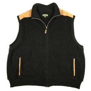 Orvis Black Knit Brown Shoulder Pad Zip Vest XL